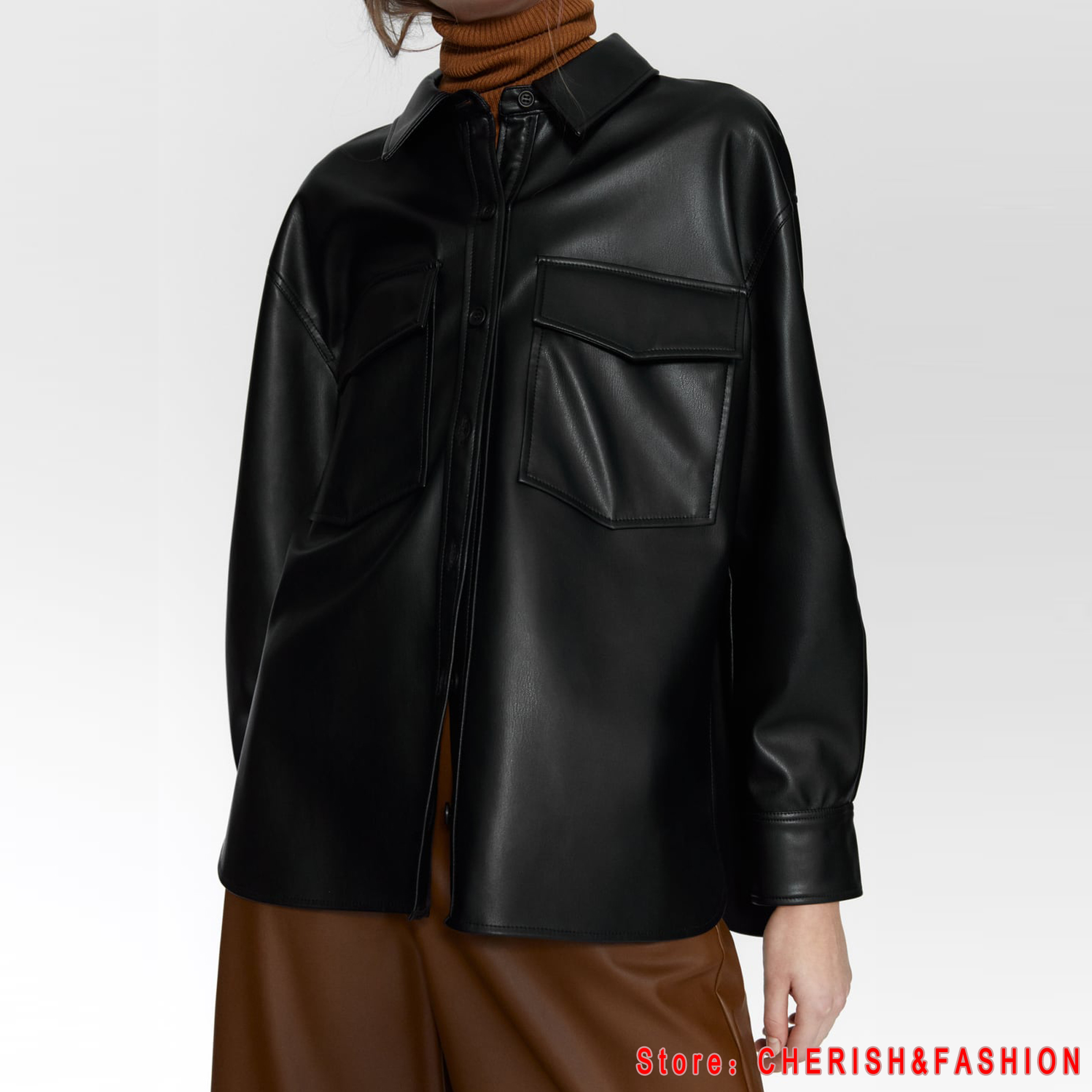 2020 New Winter Temperament Business Blouses Women Fashion PU Leather Dress Women Elegant Long Sleeve Tops Black Female Ladies