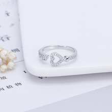 KOFSAC New Fashion 925 Sterling Silver Ring Girl Jewelry Cute Zircon Love Heart Key For Women Romantic Valentines Day Gift