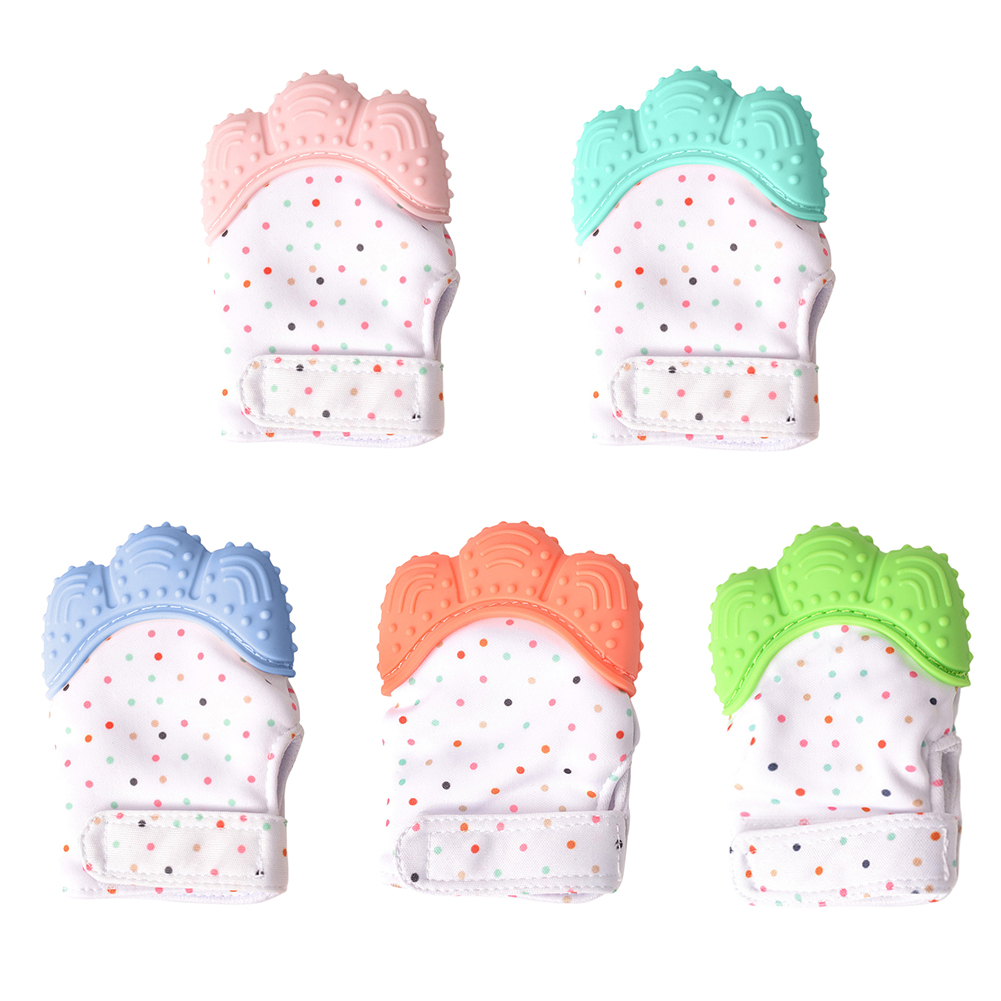 Baby Teether Gloves Squeaky Grind Teeth Oral Care Teething Pain Relief Newborn Bite Chew Sound Toys Adjustable Silicone BPA Free