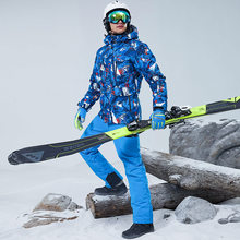 Outdoor Ski Suit Men's Wateproof Windproof Warm Snow Coat And Pants Set Winter Male Thermal Snowboarding Skiing Jacket Sets(China)