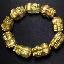Qualidade superior natural brasil ouro rutilated titânio quartzo pulseira 22x13mm mulher homem pi xiu rico cristal certificado aaaaaaaa