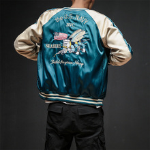 Two Sides Luxury Embroidery Bomber Jacket Smooth M