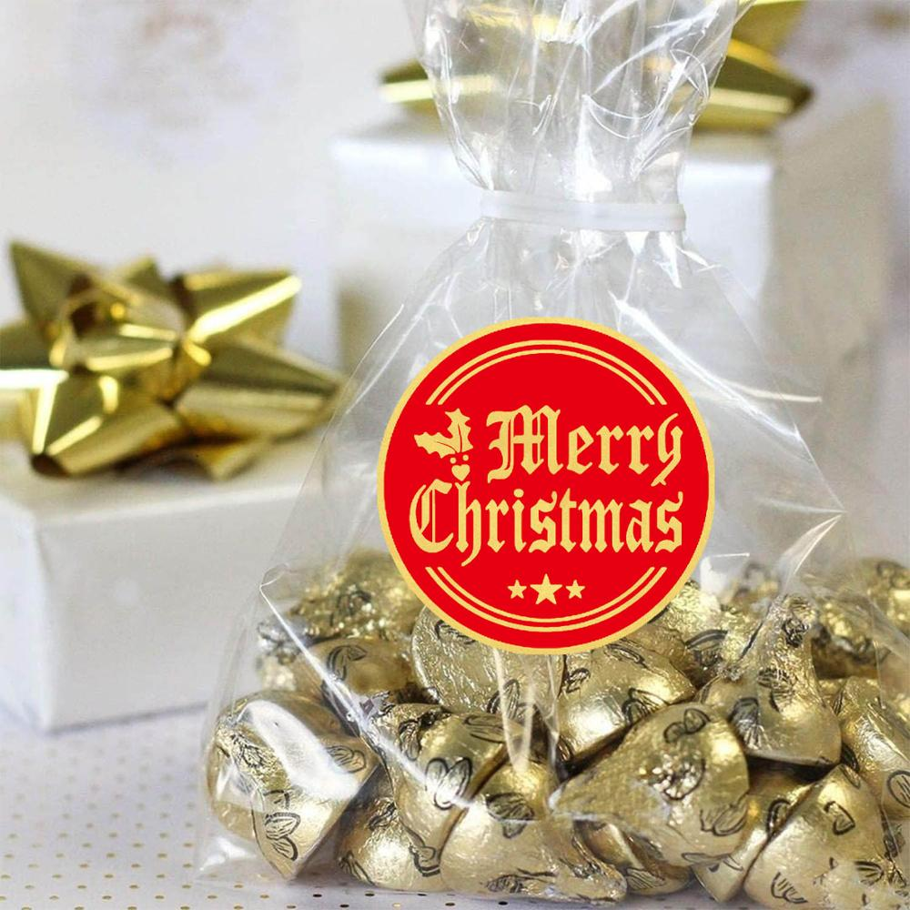 Merry Christmas Sticker Red Paper Gold Foil Sealing Labels 500pcs/roll for Gift Envelope Box Decoration 1\'\' Scrapbooking Sticker-2