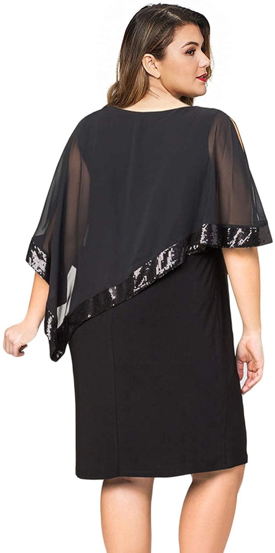 Women Plus Large Size Cold Shoulder Overlay Asymmetric Chiffon Strapless - plus-size-dresses
