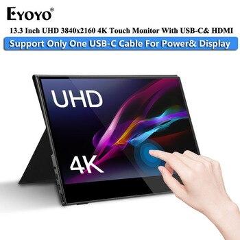 """Monitor portátil para juegos Eyoyo 13,3 """"LCD 4K UHD tipo C HDMI Touch IPS 1080p pantalla para teléfono portátil PS4 Xbox Switch con funda"""