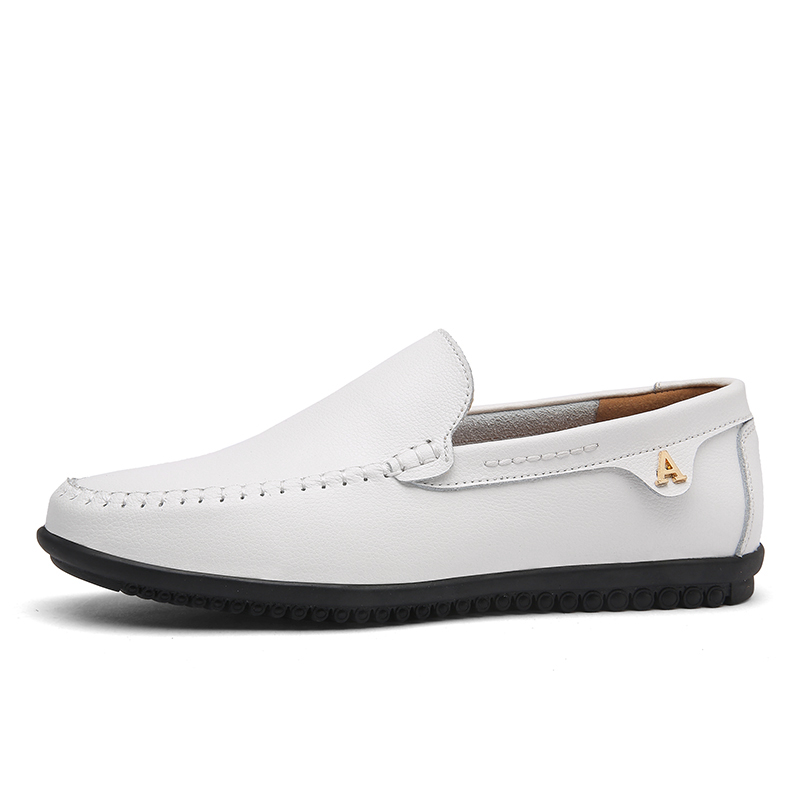 White Leather Casual Shoes Men Autumn Slip On Loafers Soft Italian Leather Flats Super Light Mocassins Plus Size 47