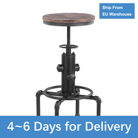 Industrial Style Bar Stool Height Adjustable Metal Barstool Swivel Pinewood Chair Kitchen Dining Chair Pipe Style Barstool