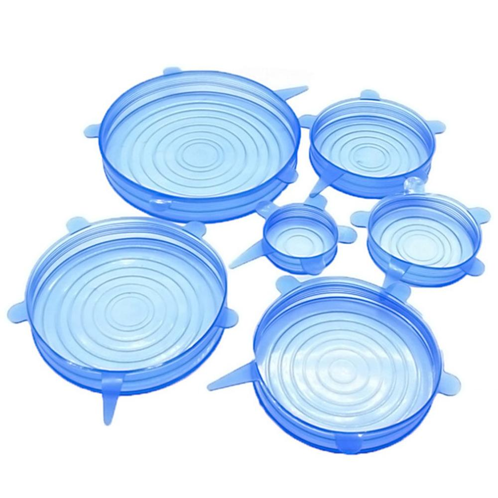 6 Pcs Silicone Stretch Lids Reusable Airtight Food Wrap Covers Keeping Fresh Seal Bowl Stretchy Wrap Cover Kitchen Accessories