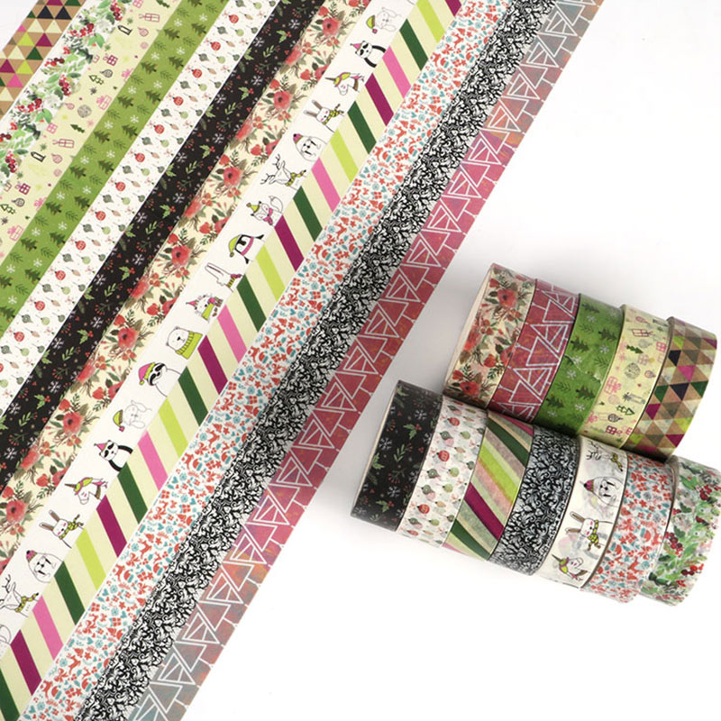 1PC Decorative Snow, Deer, Christmas Tree Washi Tape Rice Paper DIY Adhesive Decoration Tape For Home  Xmas Washi Tape Paper 5M