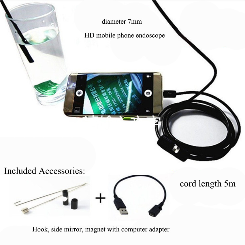 1 Set 7mm Waterproof HD Micro USB Endoscope Industrial Repair Flexible Pipe Hose Endoscopes For Android Phone Computer Endoscope