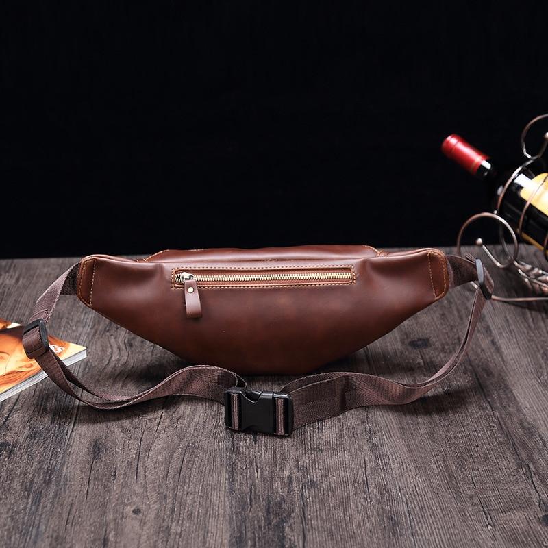 Men's Fashion Pocket Soft Leather PU Retro Messenger Bag Mobile Phone Bag
