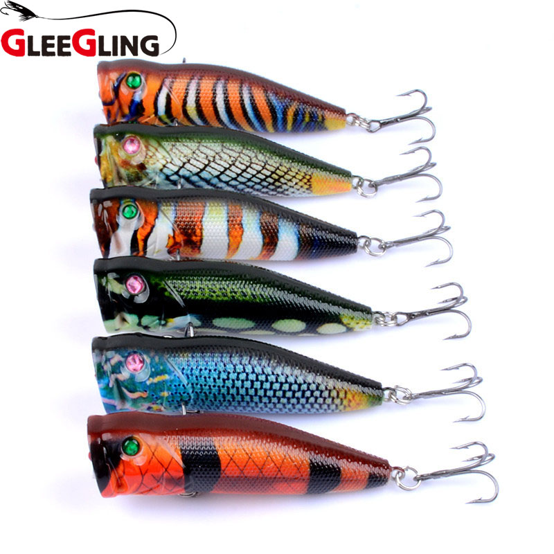 GLEEGLING 6Pcs/Lot New 2020 Popper Fishing Lure 10.4g/7cm Floating Crankbait Artificial Bait Poper Pesca Carp Pike Fishing Lure