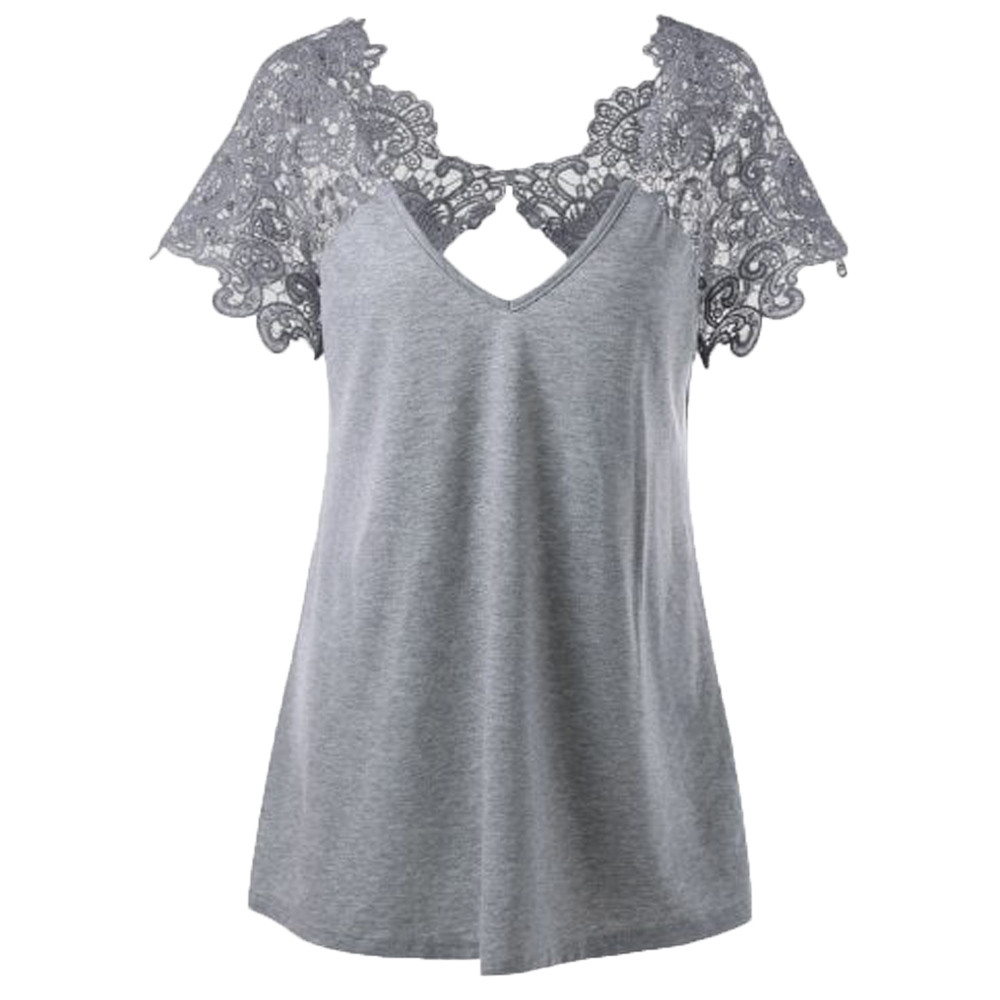 Women's T shirts Lace V Neck Solid T shirt Slim Short Sleeve Tshirts Ladies Sexy Vintage Casual Streetwear T Shirts For Women