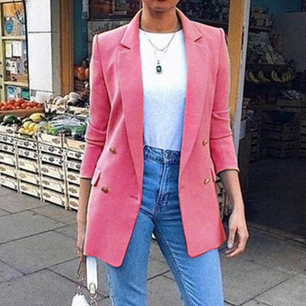 秋の女性のブレザー 2020 新ファッションダブルブレストスリムブレザー女性スーツジャケットkakhi女性プラスサイズブレザーファム