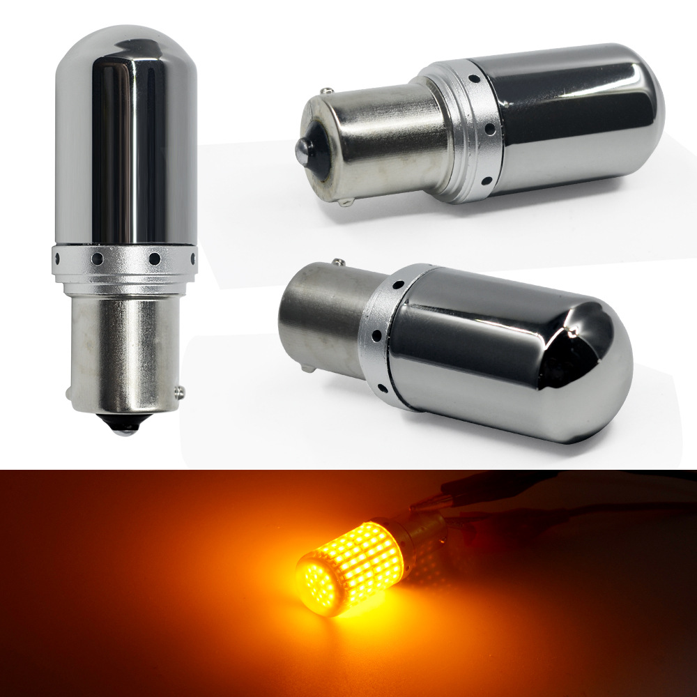 S25 T20 7440 W21W Hidden <font><b>LED</b></font> <font><b>Bulb</b></font> Chrome Amber 144 smd CanBus No Error 1156 BA15S P21W <font><b>PY21W</b></font> lamp Turn Signal Light No Flash 1pc image