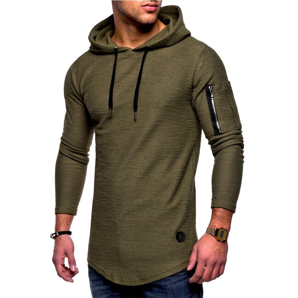 Men's solid crewneck hooded long-sleeved arm zipper stitching Autumn Male Casual Hoodies Sweatshirts Men's Hoodies Hoodies