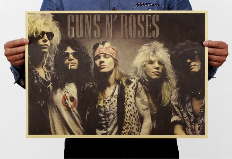 Guns N' Roses Vintage Kraft Paper Classic Movie Poster Map School Wall Garage Decoration  Art  Retro Prints