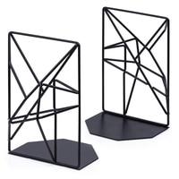 Buchstützen Schwarz  Dekorative Metall Buch Enden Unterstützt für Regale  Einzigartige Geometrische Design für Regale  Küche Cookbooks  dekorative auf