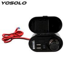 YOSOLO с цифровыми часами, двойной USB, зарядное устройство для мотоцикла, розетка, комплект, 12 В, 24 В, прикуриватель для автомобиля, мотоцикла, USB адаптер, зарядное устройство