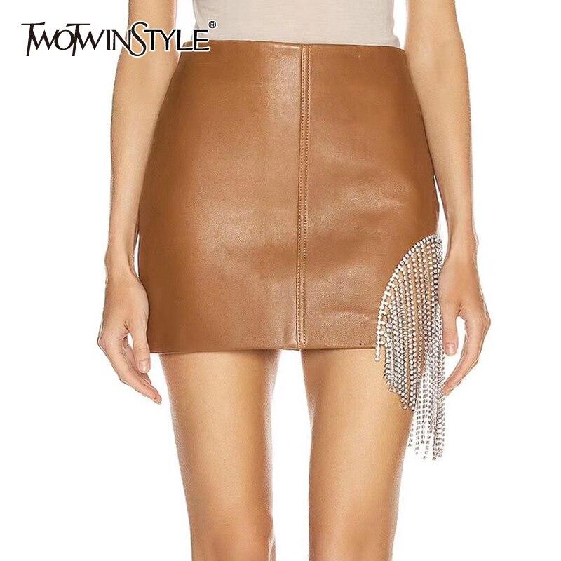 TWOTWINSTYLE Asymmetrical Patchwork Crystal Tassel Skirts For Women High Waist Mini A Line Skirt Female 2020 Autumn Fashion New