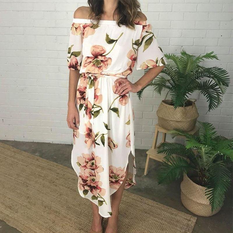 2019 New Women's print leaking shoulder word collar elastic waist short-sleeved dress casual beach dress