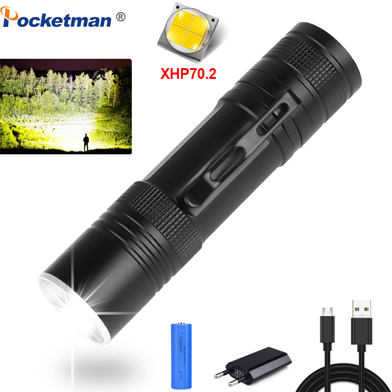 80000lumens Flashlight Xhp70.2 Ultra Bright Lamp Usb Zoom Linterna Led Torch Xhp70 Xhp50 18650 Or 26650 Best Fishing Camping