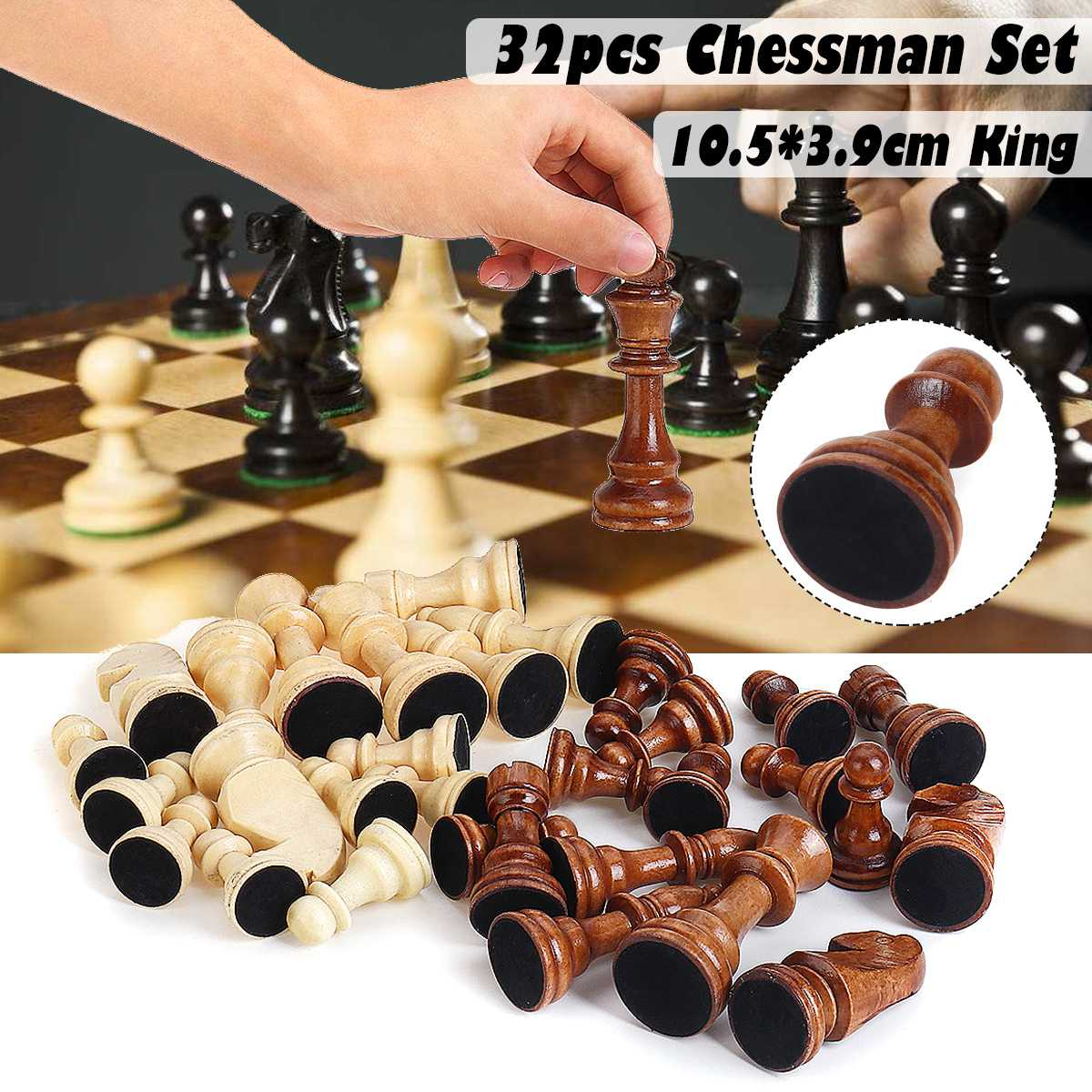 32 Piece Wooden International Chess Pieces Set Without Chessboard Board Game Funny Game Chessmen Collection Portable Board Game