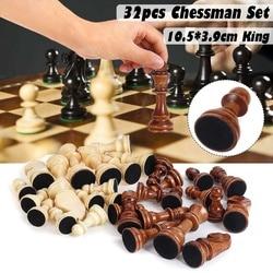 Conjunto de peças internacionais de madeira, 32 peças sem jogo de tabuleiro de xadrez, coleção de chessmen, portátil, jogo de tabuleiro