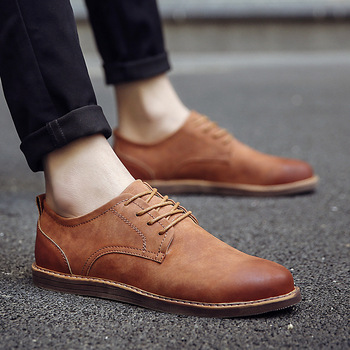 2019 Luxury Brand Men's Leather Shoes Spring Autumn Rerby Shoes Oxfords Fashion Casual Dress Shoes Man Business Lace-up Non-slip spring autumn dress shoes man pointed toe business shoes men s flats oxfords lace up gradient color leather mens shoes casual