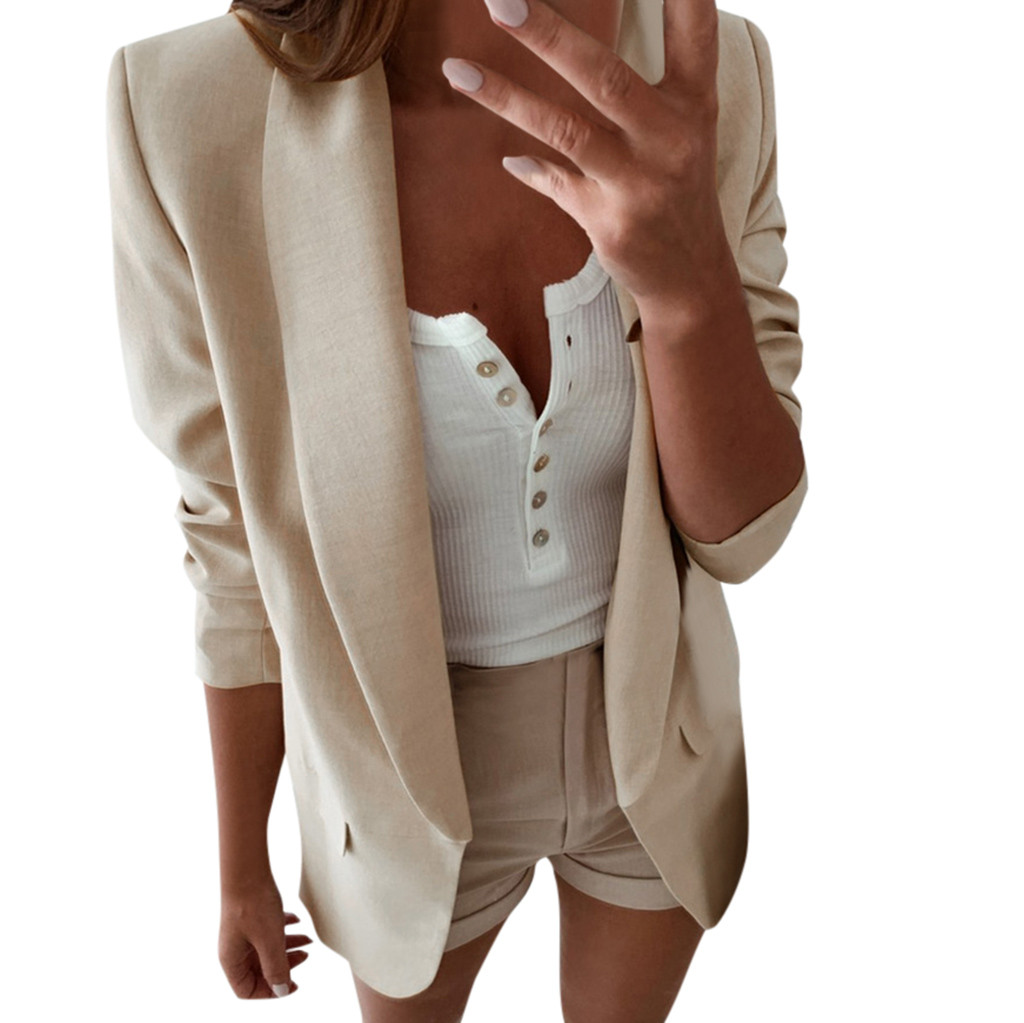 SAGACE  Women  Blazer Casual  Suit For Women SOLID COLOR FASHION  Autumn Elegant Outwear  Style  Beige White WINTER