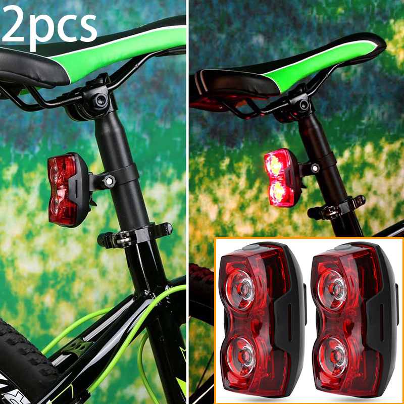 2LED Bright Bicycle Bike Safe Rear Tail Flashing Back Light Warning Lamp J C aa