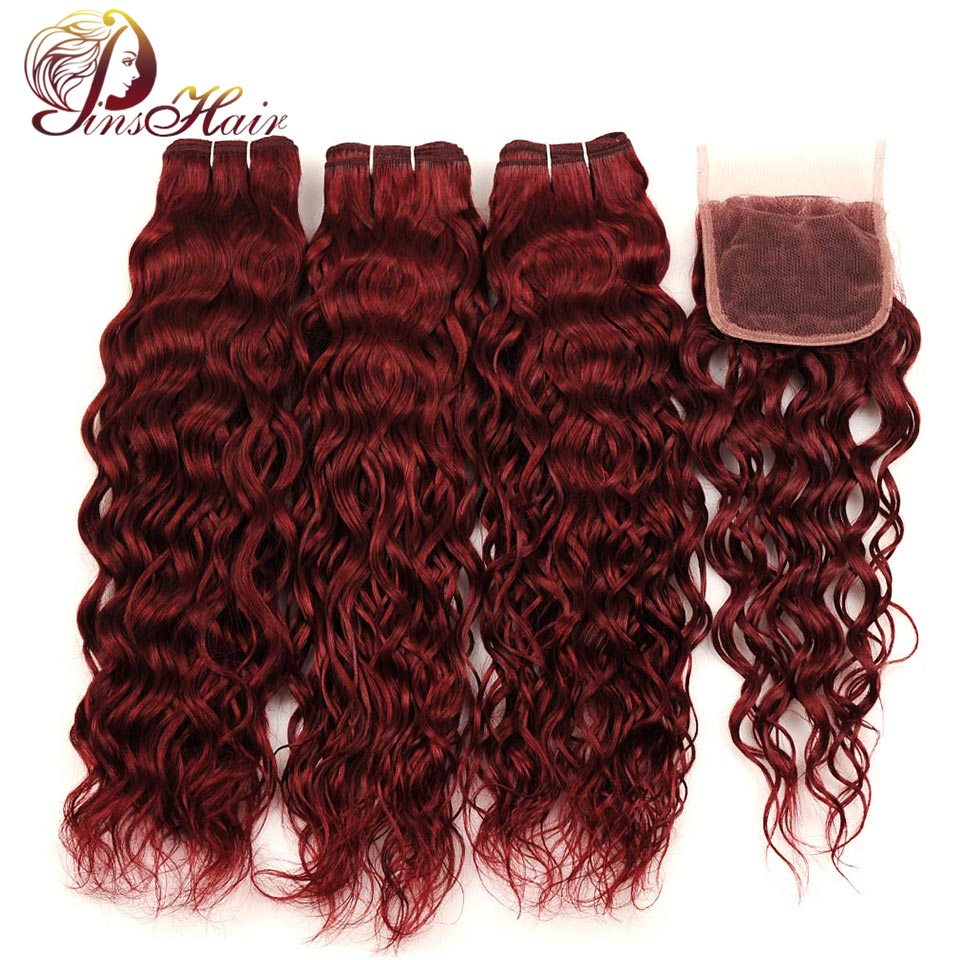 Peruvian Human Hair Bundles With Closure Pinshair Non-remy Hair With Baby Hair 99J Pre-Colored Water Wave Bundles With Closure