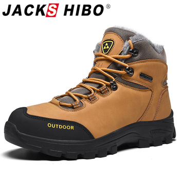Jackshibo Warm Fur Lining Ankle Boots Shoes For Men Waterproof Casual Shoes Outdoor Hiking Sport Shoes Boots Winter Snow Boots winter men military boots male waterproof snow ankle boots combat warm fur shoes zapatillas hombre