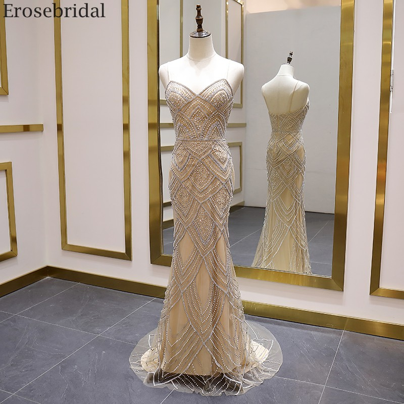 Erosebridal Luxury Pearls Beads Mermaid Prom Dress Long Champagne Long Evening Dress 2020 New Fashion Sweep Train Zipper Back