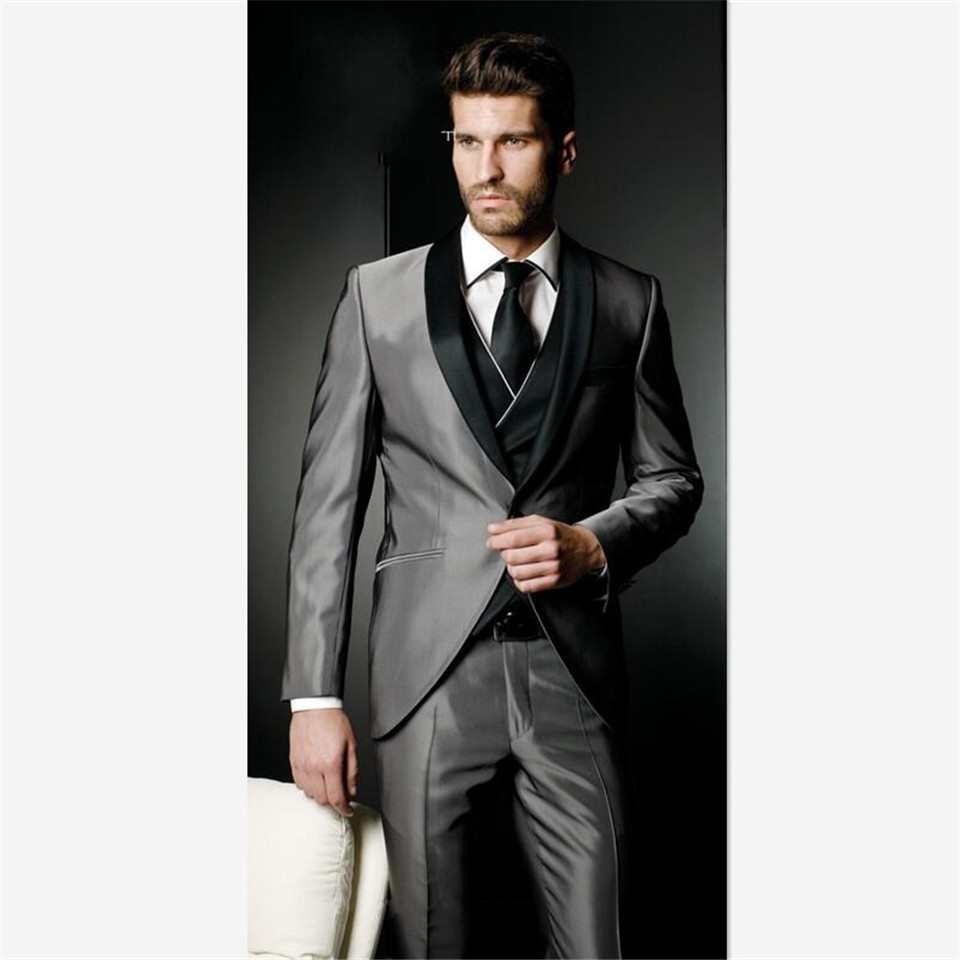 Handsome Silver Grey Tailcoat Haut Men Suit Groom Tuxedos Groomsman Men's Suits Wedding Dress Prom Clothing(Jacket+pants+vest)