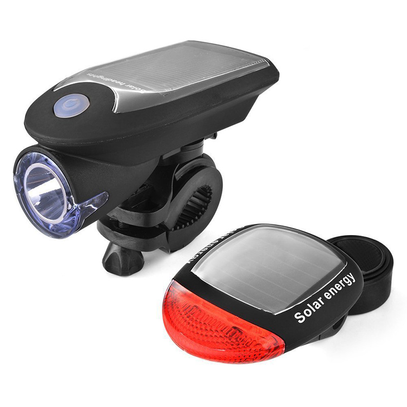 Bicycle Head Lights Set USB Charged Front Lamp+Solar Tail Light 240 Lumens 5 Modes High Bright Outdoor Cycling Waterproof Device