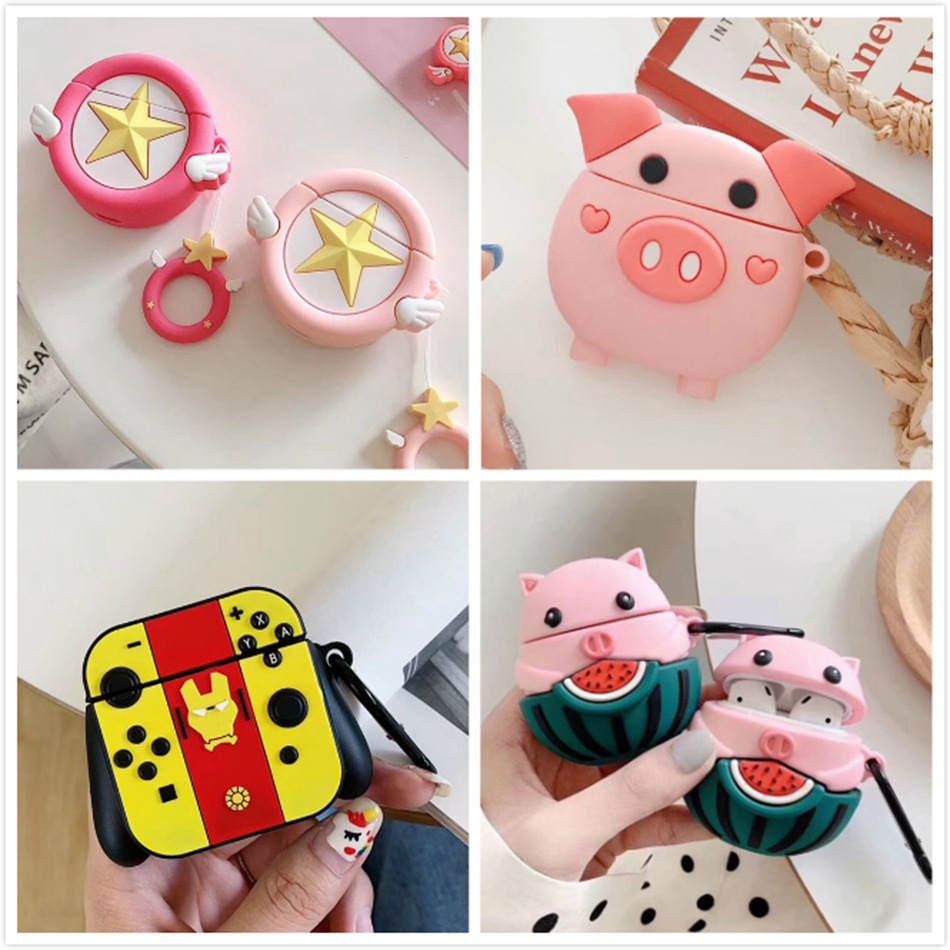3D Earphone Case For AirPods Case Silicone Cute Cartoon Sakura Pink Star Angel Wing Cover For Apple Air Pods 2 Finger Ring Strap
