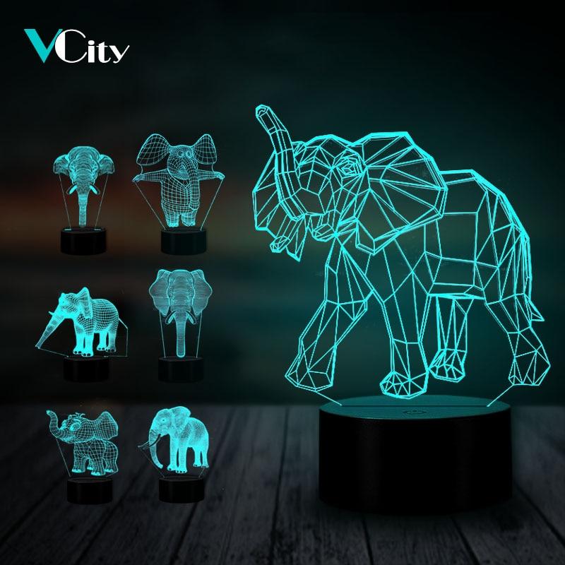 3d-лампа в виде слона VCity, ночник с сенсорным управлением и зарядкой через USB, изменение 7 цветов, акриловая пластина, восхитительная оптическа...
