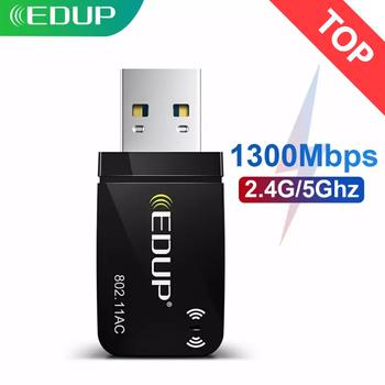 EDUP 1300 mb s Mini USB3 0 Adapter Wifi karta sieciowa wi-fi dwuzakresowy 5 8G 2 4GHz bezprzewodowy zasilacz sieciowy USB na komputer stacjonarny Laptop tanie i dobre opinie 1300M Rohs CN (pochodzenie) Zewnętrzny wireless ETHERNET 802 11n 802 11a g 802 11ac 4 3cm 2 4G i 5G 1200 Mb s Gigabit Ethernet