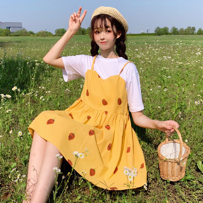 New Summer Japan Style Sweet Dresses Women Kawaii Strawberry Print Short Sleeve Fake Two Pieces Dress Girls Cute Mini Dress