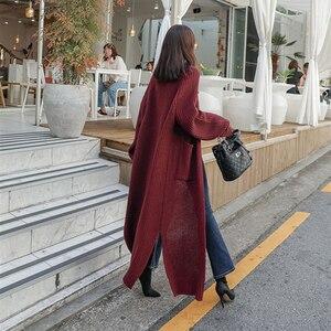 Image 3 - Colorfaith新 2020 秋冬の女性のセーター韓国スタイルミニマリスト固体多色カジュアルロングカーディガンSW8528