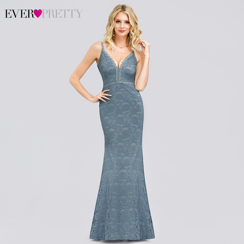 Sexy Blue Lace Prom Dresses Ever Pretty Spaghetti Straps Double V-Neck Sleeveless See-Through Mermaid Party Gowns Gala Jurken