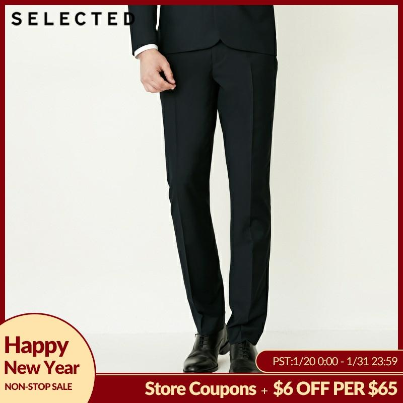SELECTED Men Fly Front Cultivate Morality Pure Color Business Suit Pants T | 41836A501