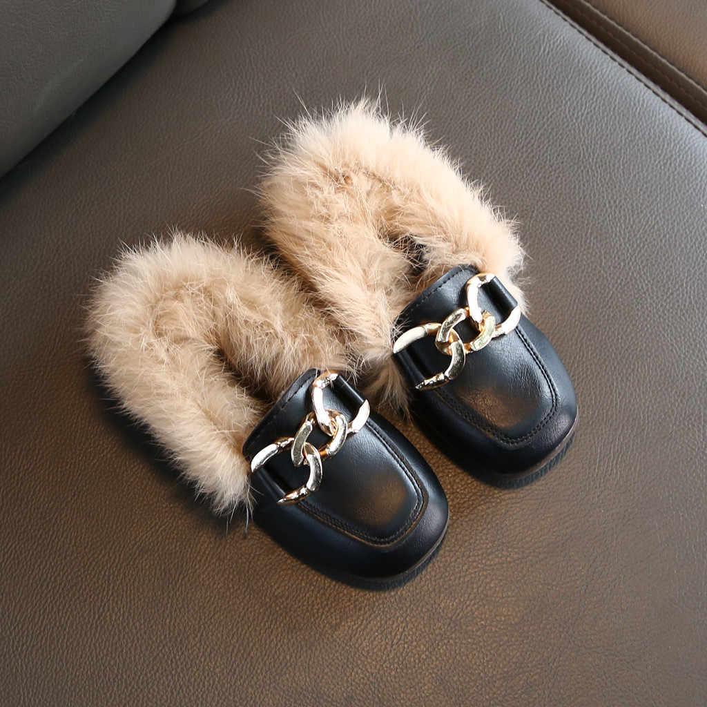 JAYCOSIN 2019 Baby Meisjes Winter Prinses Schoenen Kinderen Stijlvolle Bont Qaulity Lederen Flats Schoen Meisje Casual Party Dressing Schoenen
