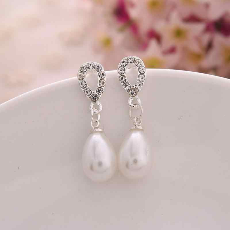 Factory Direct Selling Hot Drop Pearl Rhinestone kolczyki biżuteria hurtowych z okrągłymi długie kolczyki perłowe biżuteria ślubna