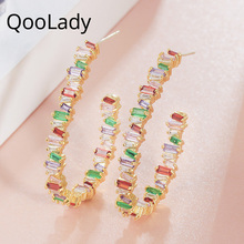 Qoolady 2019 New Fashion Rainbow Color Cubic Zirconia Stone Oversized Hoops on Earrings for Women Jewelry Accessories E006