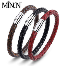 MINCN mens and womens universal leather simple versatile bracelet stainless steel hot 3 color optional