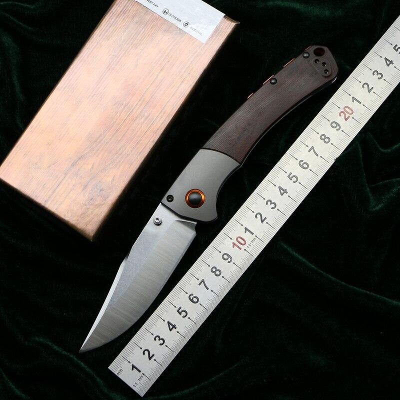 LOVOCOO 15080 D2 acier G10 bois de santal poignée en acier couteau pliant extérieur camping poche survie chasse cuisine couteaux EDC outil