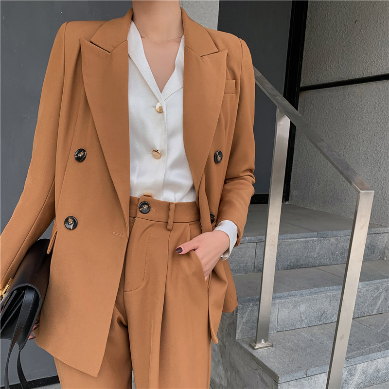 HziriP Streetwear Solid Slender OL Casual Elegance Formal Chic 2020 Blazers+Straight High Quality Slim Pants Suits 2 Piece Sets