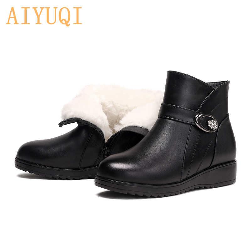 AIYUQI bayan ayakkabı botları 2019 yeni hakiki deri yün kış patik anne çizmeler düz artı boyutu 41 42 43 çizmeler kadın